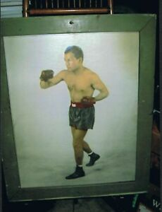 RARE FRAMED 1930's Champion TONY CANZONERI large format photo poster
