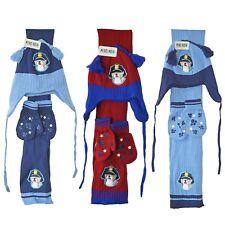 Baby Hat Scarf And Glove Mittens Set Police Dog Beanie Chin Tie Boy Girl 1-2 Yrs