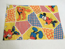 Walt Disney Productions Vtg Mickey Minnie Mouse Pluto Patchwork Print Pillowcase