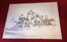 Antique Lithograph Satire Circa 1830 Horse Riding