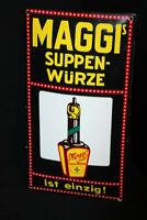 MAGGI ´S Suppen-Würze Es Einzig! Cartel Esmaltado 24 X 45CM Di. 1990er Años