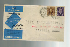 1939 Hampton England First Flight Cover to USA  FFC via Imperial Airways