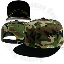 Camouflage Tactical Baseball Cap Adjustable Snapback Hat CAMO Solid Flat Men