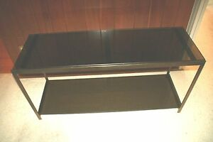 """Milo Baughman"" Black Glass, Steel Mid-Century 2-Tier 1970's Console Table"