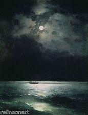 Ivan Aivazovsky The Black Sea at night Handmade Oil Painting repro