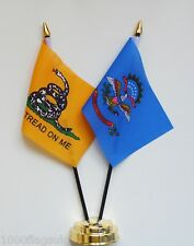Gadsden & North Dakota Double Friendship Table Flag Set