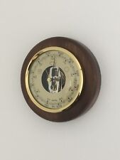 Wall Weather Barometer Walnut Finish Round Wood Mount