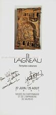 B LAGNEAU - TEMPES CABANES 1991 * EXHIBITION CARD HAND SIGNED