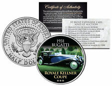 1931 BUGATTI *Expensive Auction Cars* JFK Half Dollar Coin ROYALE KELLNER COUPE