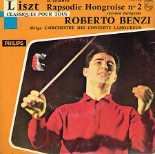 "45T 7"": Liszt: rapsodie ongroise N°2. Roberto Benzi. philips avec catalogue. A12"