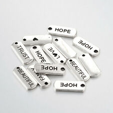 10 Assorted Charms Word Pendants Antiqued Silver Tone Inspirational Quote