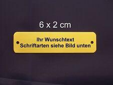 Namensschild Türschild Messing poliert 6 x 2 x 0,06 cm mit Gravur und 2 Löchern