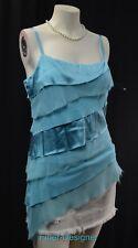 bebe asymmetrical chic tank top sexy blouse silk chiffon mix shabby JR SZ L NEW