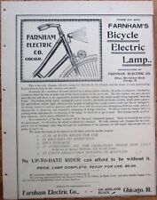 Bicycle 1890s Advertising/Brochure: Farnham's Cycle Electric Lamp