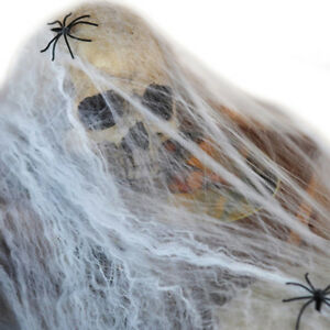 Halloween Stretchy Spooky Spider Cobweb Webbing Fake Spiders Scary Tool Decor