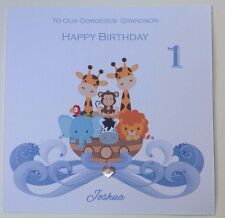 PERSONALISED Handmade BIRTHDAY Card NEPHEW GRANDSON SON FIRST 1 2 3   Noahs Ark