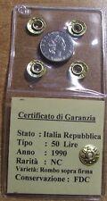 REPUBBLICA ITALIANA - LIRE 50 DEL 1990 CON ROMBO SU FIRMA INCISORE
