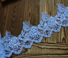 4.72*1Y  Bleached White Organz Alencon Pearls Beaded Lace Trim  For Bridal Dress