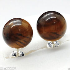 New Beautiful 10mm Natural African Tiger's Eye Sterling Stud Earrings
