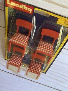 Vintage Lundby Dollhouse Furniture 2511 - 4pc White Red Checkered Chairs NIB
