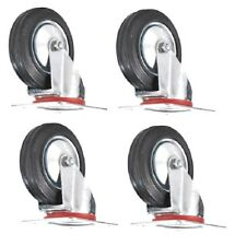 "4 Pack FREE SHIPPING-3"" Swivel Caster Rubber Wheels Top Plate Bearing HEAVY DUTY"