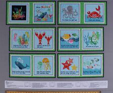 "35"" X 44"" Panel Kids Soft Book Sea Buddies Ocean Animals Cotton Fabric D788.53"