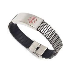 Medical ID Tag Stainless Steel Bracelet Emergency Engraving Alert Unisex Bangle