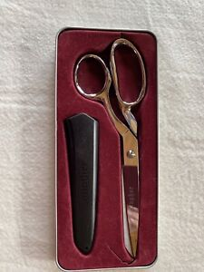 "Ginger Scissors With Protective Cover 8 1/2"" Dressmaker Knife Edge  Used"