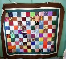 AF0659 Handmade ONE PATCH Patchwork Lap QUILT TABLE TOPPER Earthy 71 x 62 Calico