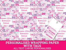 Personalised Happy 20th Birthday Wrapping paper. Pink Gift Wrap with a number 20