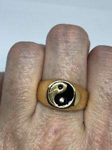 Vintage Ying Yang Mens Ring Golden Stainless Steel Size 10