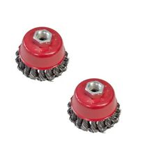 """2x 75MM 3"""" TWIST KNOT WIRE CUP BRUSH M14 THREAD ANGLE GRINDER SPINNING WHEEL"""