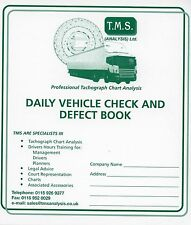 x4 Vehicle Check & Defect Book, 20 Pages,Uk's Number one Tacho specialist! PDB