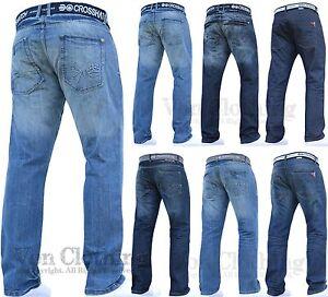New Mens Boys Crosshatch Jeans Pants Dark Blue Designer Branded All Waist Sizes