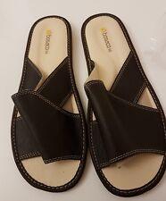 Nuevo Para hombres Cuero confort antideslizante en Casa Zapatillas Zapatos Talla Uk 10 Marrón