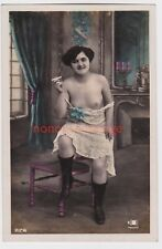 FRANCE EROTIC RISQUE NAKED NUDE WOMAN DESHABILLE SMOKING HAND COLOURED RP - NU67