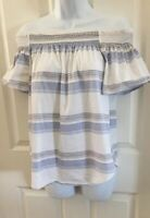 COMO VINTAGE Womens Top Blue & White Striped Sz M OFF THE SHOULDER BLOUSE SHIRT