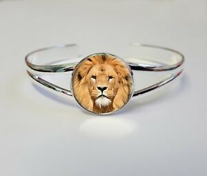 Lion On A Silver Plated Bracelet Bangle Costume Jewellery Ladies Gift L90