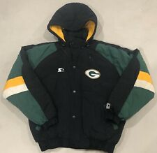 Vintage Green Bay Packers Starter NFL Winter Puffer Jacket w/ Hood Size Large