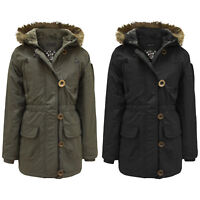 GIRLS PADDED PUFFER JACKET FUR HOODED KIDS WARM QUILTED WINTER SCHOOL PARKA COAT