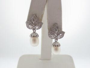 White Pearls Genuine Diamonds Solid 18K DANGLE White Gold Earrings