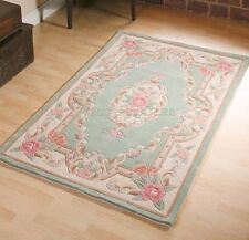 GREEN CHINESE FLORAL AUBUSSON PREMIUM WOOL HAND TUFTED RUGS 4'X2'