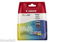 3 x Canon Original OEM Inkjet Cartridges CLI-526C, CLI-526M, CLI-526Y