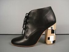 CHANEL RUNWAY BLACK BEIGE IVORY LACE UP BOOTIE ANKLE BOOTS PUMPS SHOES 37/7 NEW