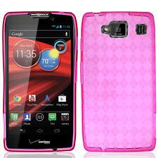 For Motorola DROID RAZR MAXX HD TPU CANDY Flexi Gel Skin Case Hot Pink Plaid