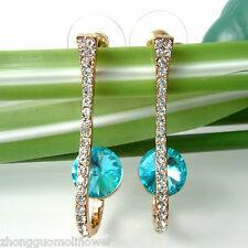 Navachi Blue Zircon 18K GP Rhinestone Crystal Ear Stud Earrings BH2073