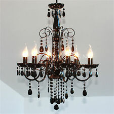 NEW Shabby 6 Arm BLACK CRYSTAL CHANDELIER LIGHT Ceiling Lamp Large Metal Pendant