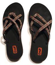 3ef833855562a6 Teva Mush Olowahu 6840 Women Sz 6 Flip Flop Slip On Thongs Orange Brown  Black