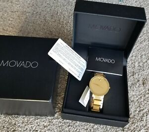 New Movado Sapphire Gold Mirror Dial, Men's Model 0607180