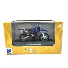 New Ray Suzuki RM 125 Motocross Mini Dirt Bike Motorcycle Blue Die Cast 1/32